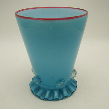 Cased Blue Drinking Glass Raspberry Prunts Ruffle & Pontil ID - Art Glass