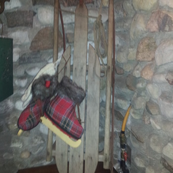 Old Wooden Sled / Toboggan - Sporting Goods