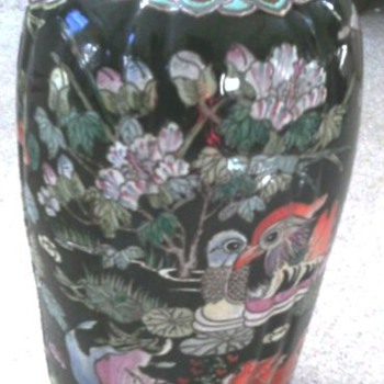 Asian vase with rare double rings 6 character mark on base - Asian