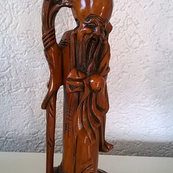 Carved Wooden SHOULAO (one of the Three Star Gods, representing Canopus, God of Longevity) Thrift Shop Find $3.00