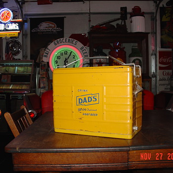 The Old Fashioned Root Beer...1950's Dad's Root Beer Embossed Cooler...All original With Tray and Bottle Opener