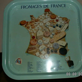 "Vintage French Café Metal Beer Tray ""Fromages De France"" (Cheeses of France) - Advertising"
