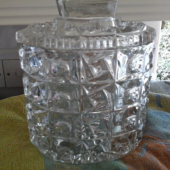 HEAVY GLASS SWEET/BISCUIT JAR, Czech