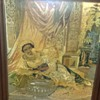 White Child Washing Black Slave Woman - Framed Needlework Embroidery Tapestry
