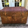 Antique sole leather trunk