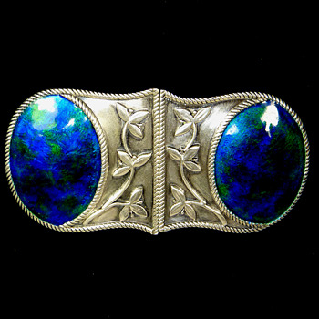 Liberty & Co Silver & Enamel Belt Buckle, marked WHH, circa early 1900's - Art Nouveau