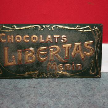 chocolats libertas tin sign