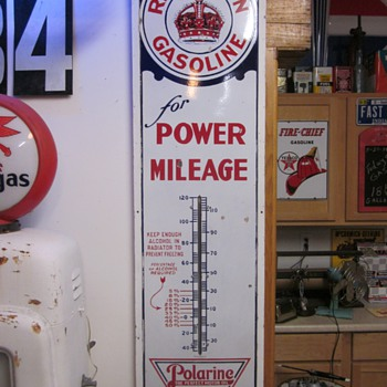 Red Crown Gasoline Polarine 6 Foot Porcelain Thermometer - Petroliana