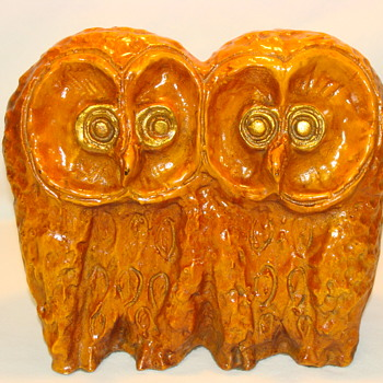 Studio Pottery Ceramic Double Owl Sculpture MCM Style Art