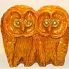 Studio Pottery Ceramic Double Owl Sculpture MCM Style Art