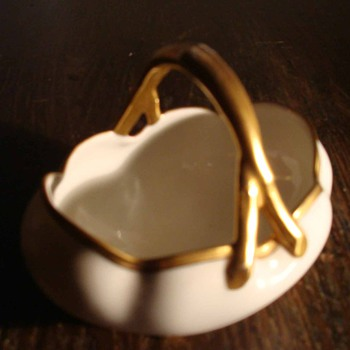 Bawo and Dotter Elite Works Limoges Gilt Porcelain Basket 1920-32 - China and Dinnerware