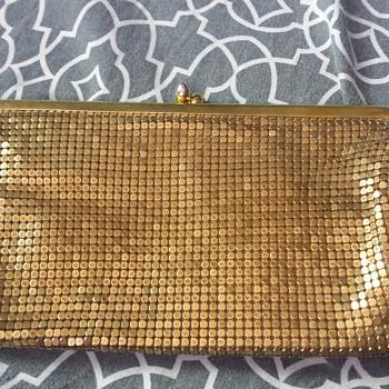 Gold mesh clutch
