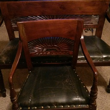 Office Leather Chair & Love Seat 1900's