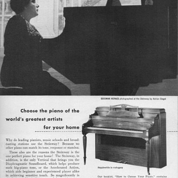 1952 - Steinway &quot;Hepplewhite&quot; Piano Advertisement - Advertising