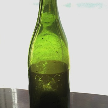 Old Green Hand blown Glass Bottle, Unknown Age, 12 inches tall
