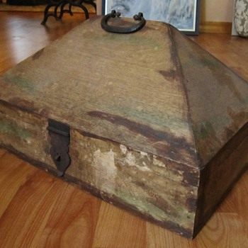 Old wooden Pyramid shaped box
