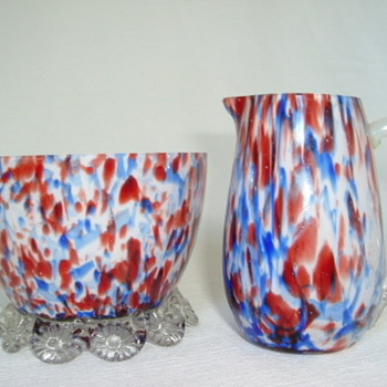 Bohemian Welz Sugar Bowl and Creamer - Art Glass