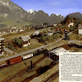 Z Guage layout circa 1969.  Landscape features all to scale.