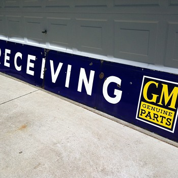 LARGE GM Genuine Parts Receiving Porcelain Sign