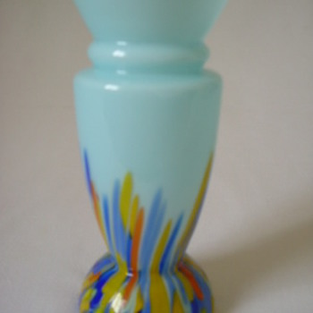 Czech Art Deco Vase with Spatter - Art Glass