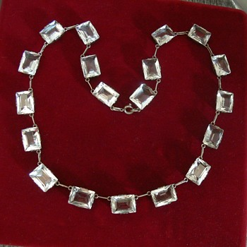 A riviere necklace with rock crystal stones - what era? I think it looks Art Deco