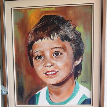 Oil painting of my 4 years old son (painted 1979)  - Visual Art