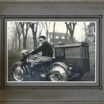 Two Cool 1924 Mounted Photos of a Motorcycle: one with a Weird Sidecar! - Motorcycles
