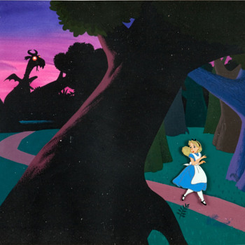 Alice In Wonderland Deleted Jabberwocky Scene Production Cel and Background Animation Art (Disney, 1951) - Movies