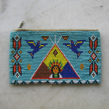 1950's loomed bead coin purse in Native American style
