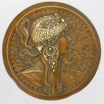 EXTRAORDINARY ANTIQUE ART NOUVEAU BRONZE LADY WALL PLAQUE by Mucha!