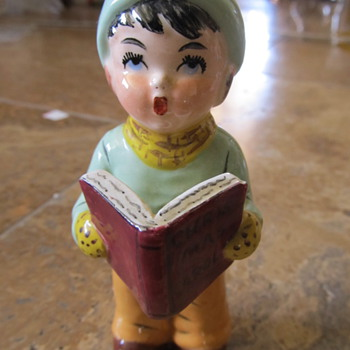 Porcelain Little Boy Christmas Caroler  Delee (?)