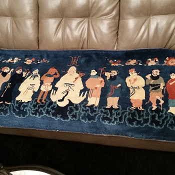 rare antique eight immortals rug - Asian