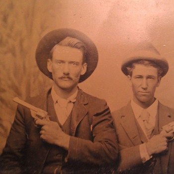 Tintype Cowboys/Outlaws Posing With Pistols Drawn - Photographs