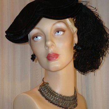 Fabulous Black Velvet Edwardian Tricorn With Curled Ostrich Feather
