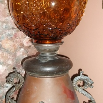 Dragons and Bats.....antique oil lamp...1800's