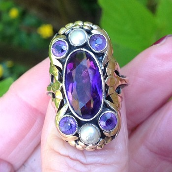 Bernard Instone Gold, Silver, Amethyst and Pearl Ring