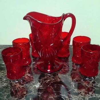 Red Footed Pitcher & glasses ~ Antique or Reproduction?