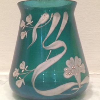 Teal iridescent enamel - Art Glass