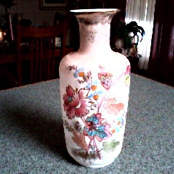 "Bristol Glass 10"" Vase /Hand Painted Floral Design with Gilt Accents/Circa 19th Century"