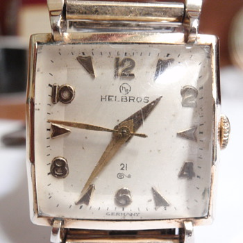 "1955 Helbros 10K 21 Jewel P61 ""germany"" watch"