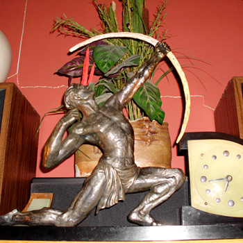 "Jean de Roncourt style Archer ""Marti"" French Art Moderne Clock, 1930's - Art Deco"