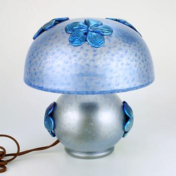 Loetz Deco Lamp with Blue Papilon Flowers - Art Glass