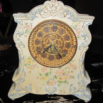 Ansonia Porcelain Clock ROYAL BONN CASE - Clocks