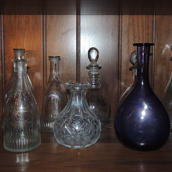 Collection of Early American Decanters - Ages and Styles Vary - Bottles