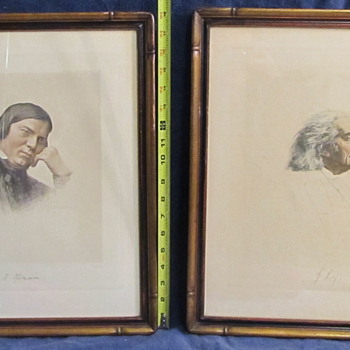 Vintage lithographs of Franz Liszt and ??