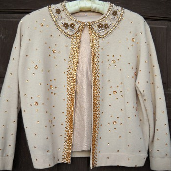 Vintage 50's - 60's Beaded & Sequin Sweater - Womens Clothing