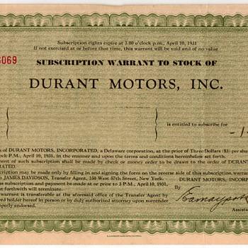 1931 - Durant Motors Stock Certificate