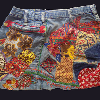 #23 ~ Original Hippie Patched & Embroidered Denim Miniskirt #24, #25 - Womens Clothing