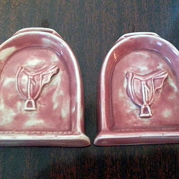 2 Pink Saddle Ceramic Tiles...made in 1944