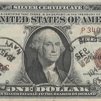 HAWAII ONE DOLLAR BILL STAMPED ON USS MISSOURI  ARMISTICE DAY SEPTEMBER 2nd 1945 - US Paper Money